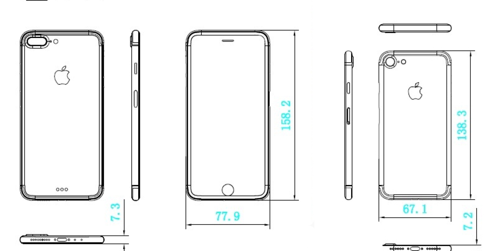 new iphone 7 schematics suggest similar dimensions unlikely front changes on iphone 7 plus 9to5mac [ 1574 x 806 Pixel ]