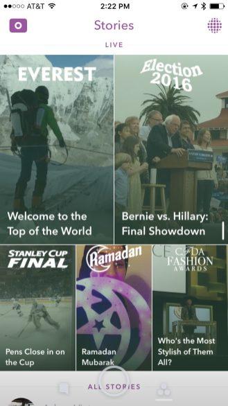 Snapchat 9.32 new Live view