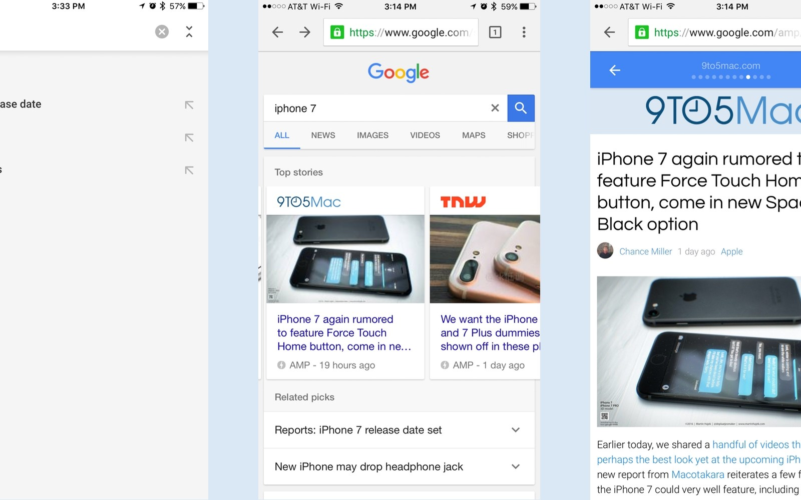 Chrome for iOS now highlights AMP articles for instant page loading