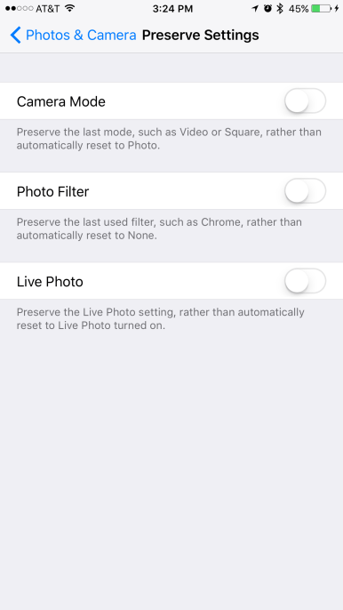 iOS 10.2 beta 1 Preserve Camera setting