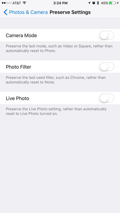 iOS 10.2 beta 1 Preserve Camera setting