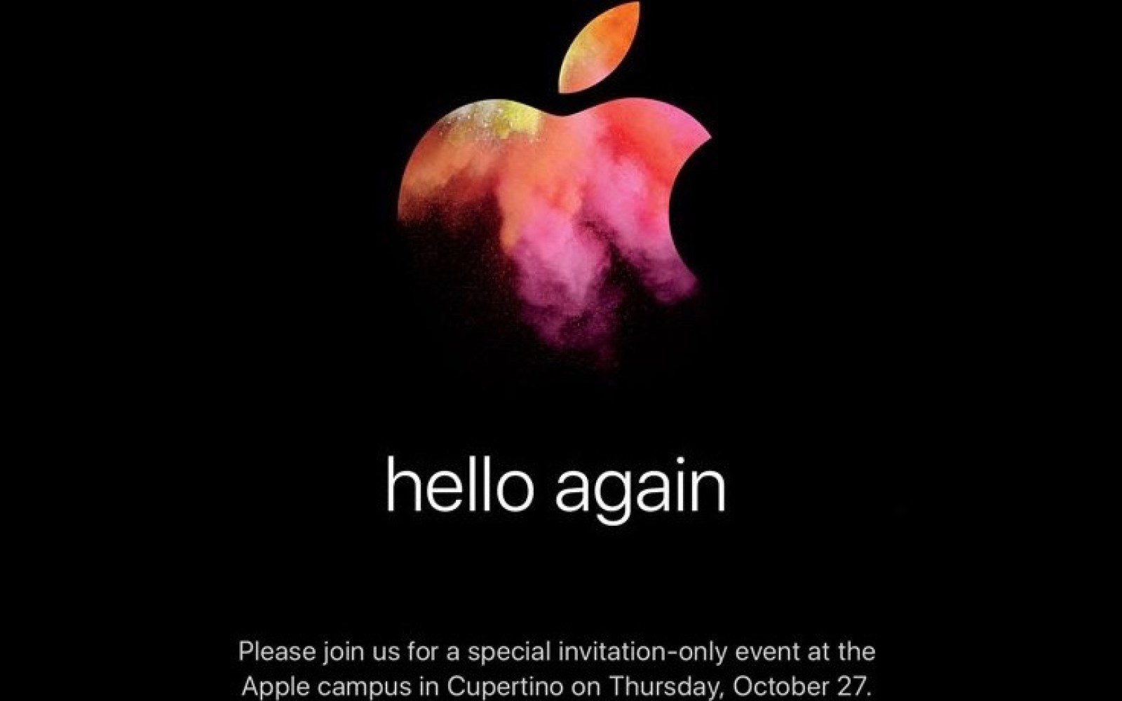 Apple's expected Mac event on October 27 is official: 'hello again'