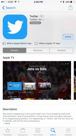 Twitter iOS App Store Apple TV Screenshots