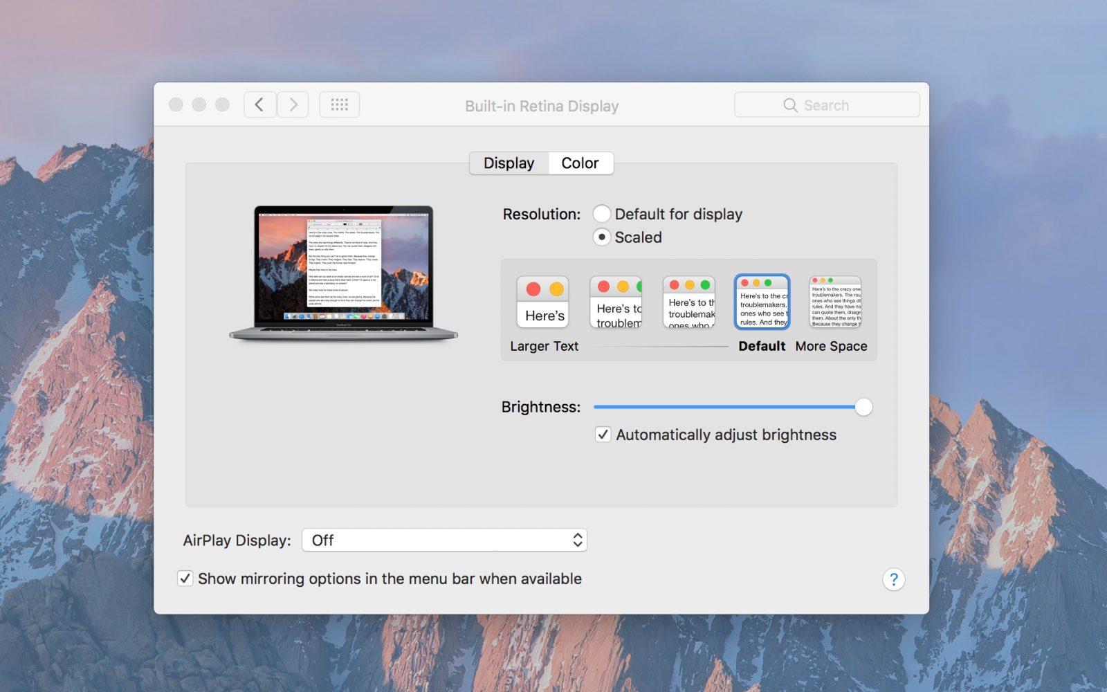 New 2016 MacBook Pros default to scaled non-native Retina