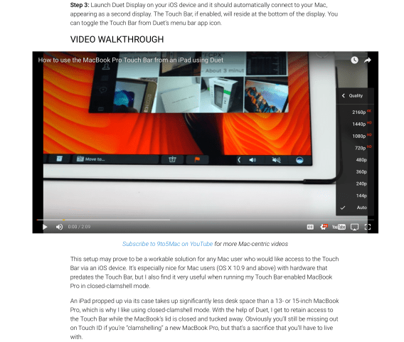 Safari - 4K YouTube video showing all video playback options when in embedded in page
