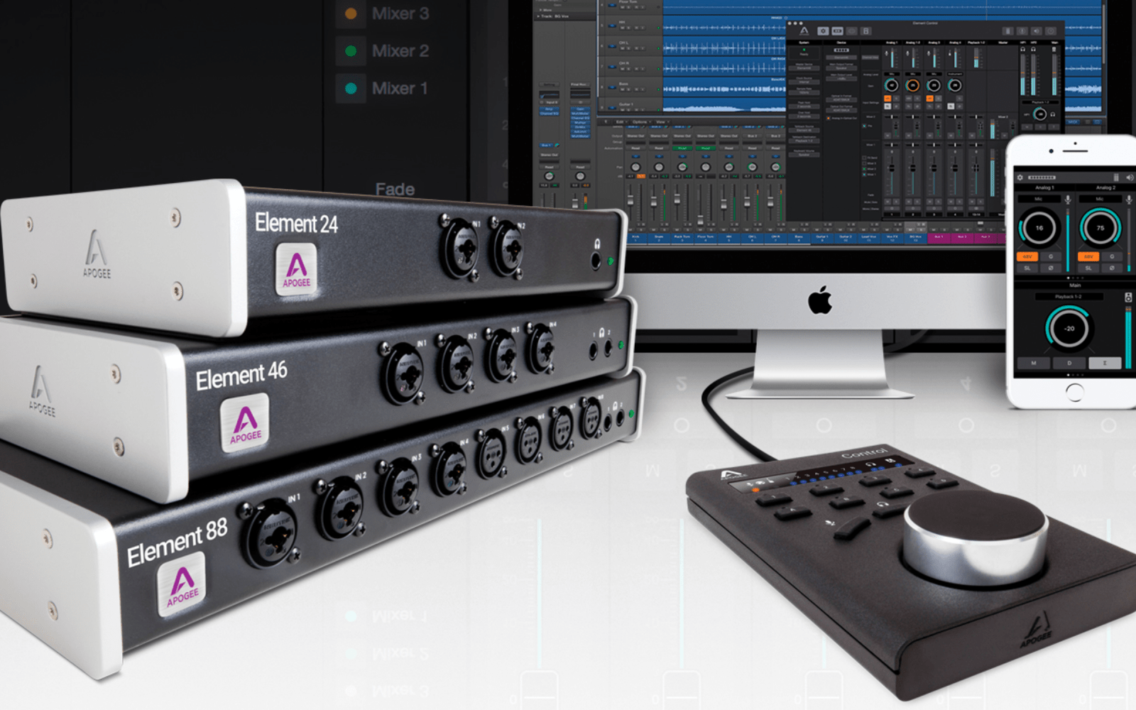 Logic Pros Review: Apogee's new Element audio interfaces w/ dedicated Mac/iOS apps & Remote accessory