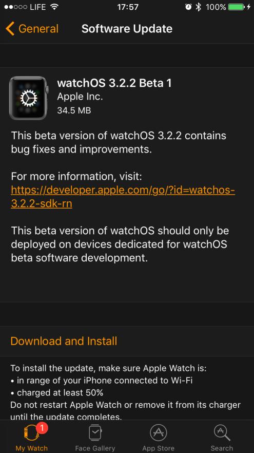 watchOS 3.2.2 beta 1