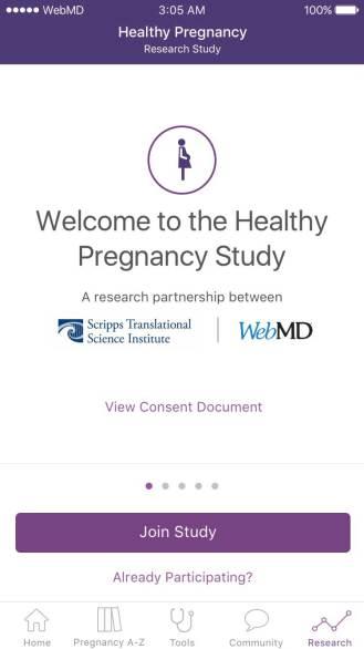 WebMD ResearchKit Pregnancy 2