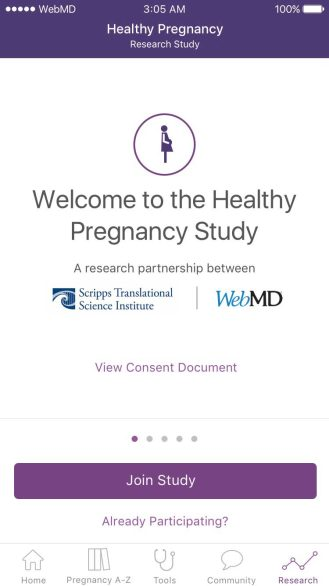 WebMD ResearchKit Pregnancy 2