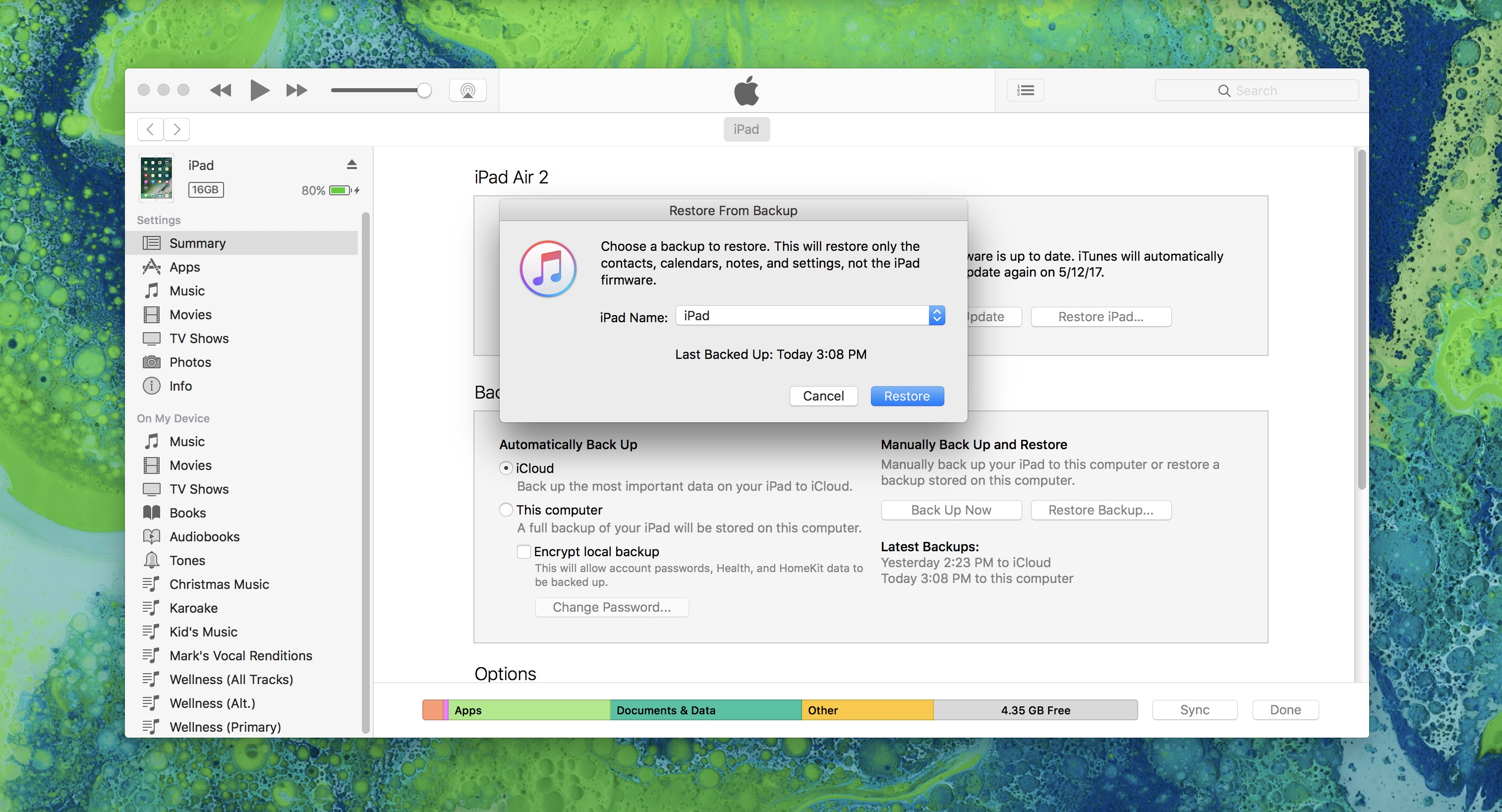 Backup ipad to icloud or itunes