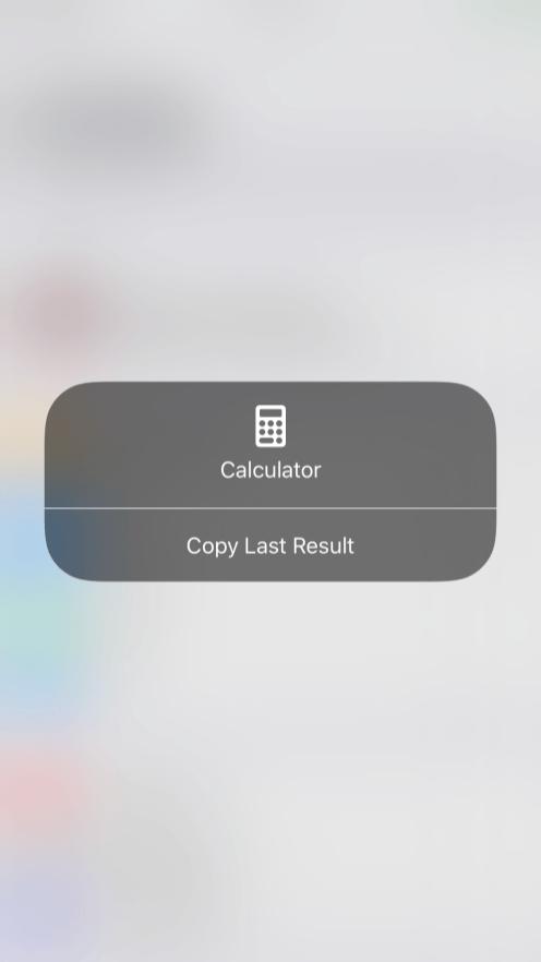 iOS 11 Control Center 3D Touch Calculator
