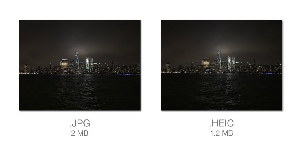 JPG vs HEIC FIle Sizes