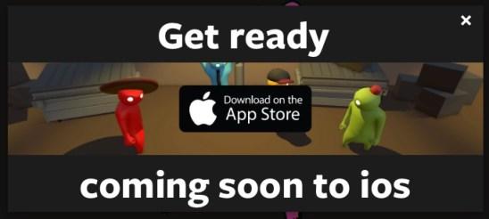 Fake alert advertising Gang Beasts for iOS