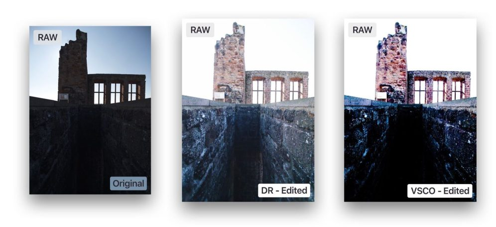 Darkroom 3.5 RAW editing compared to VSCO