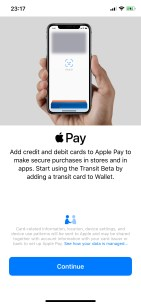 Apple Pay Transit beta enrollment screen