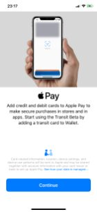 Apple Pay Transit beta enrollment screen