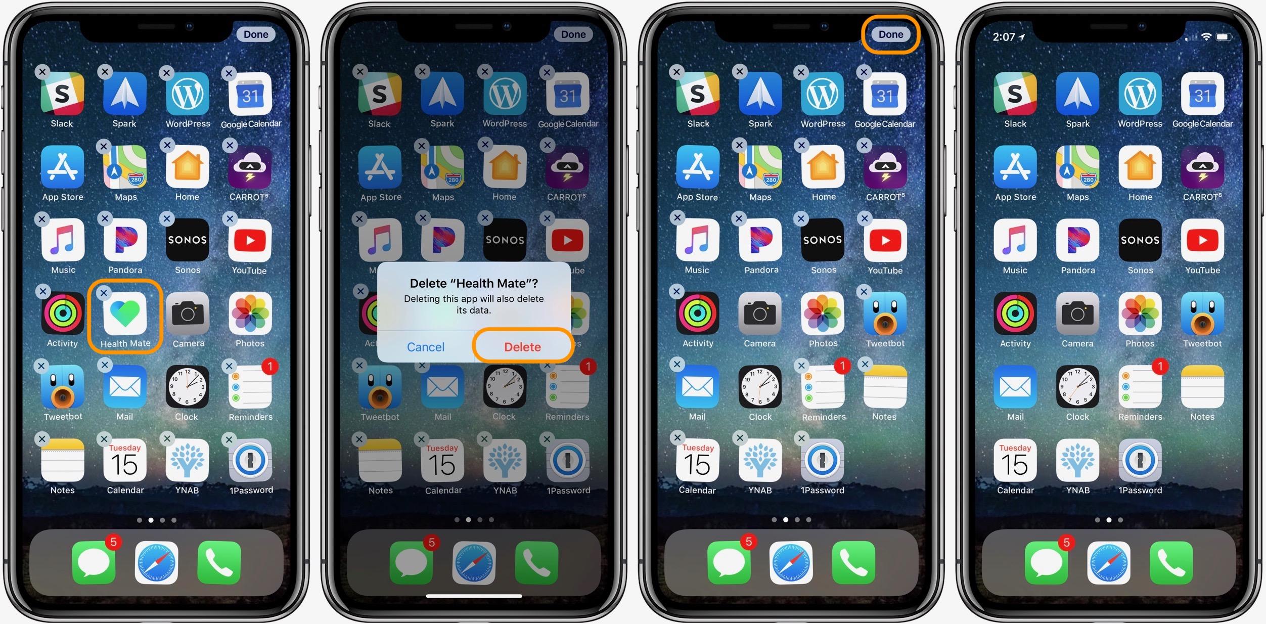 iphone how to delete