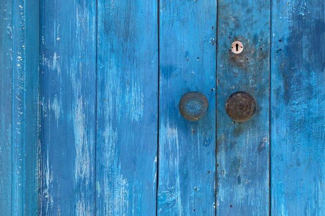 Azul puerta iPhone XS