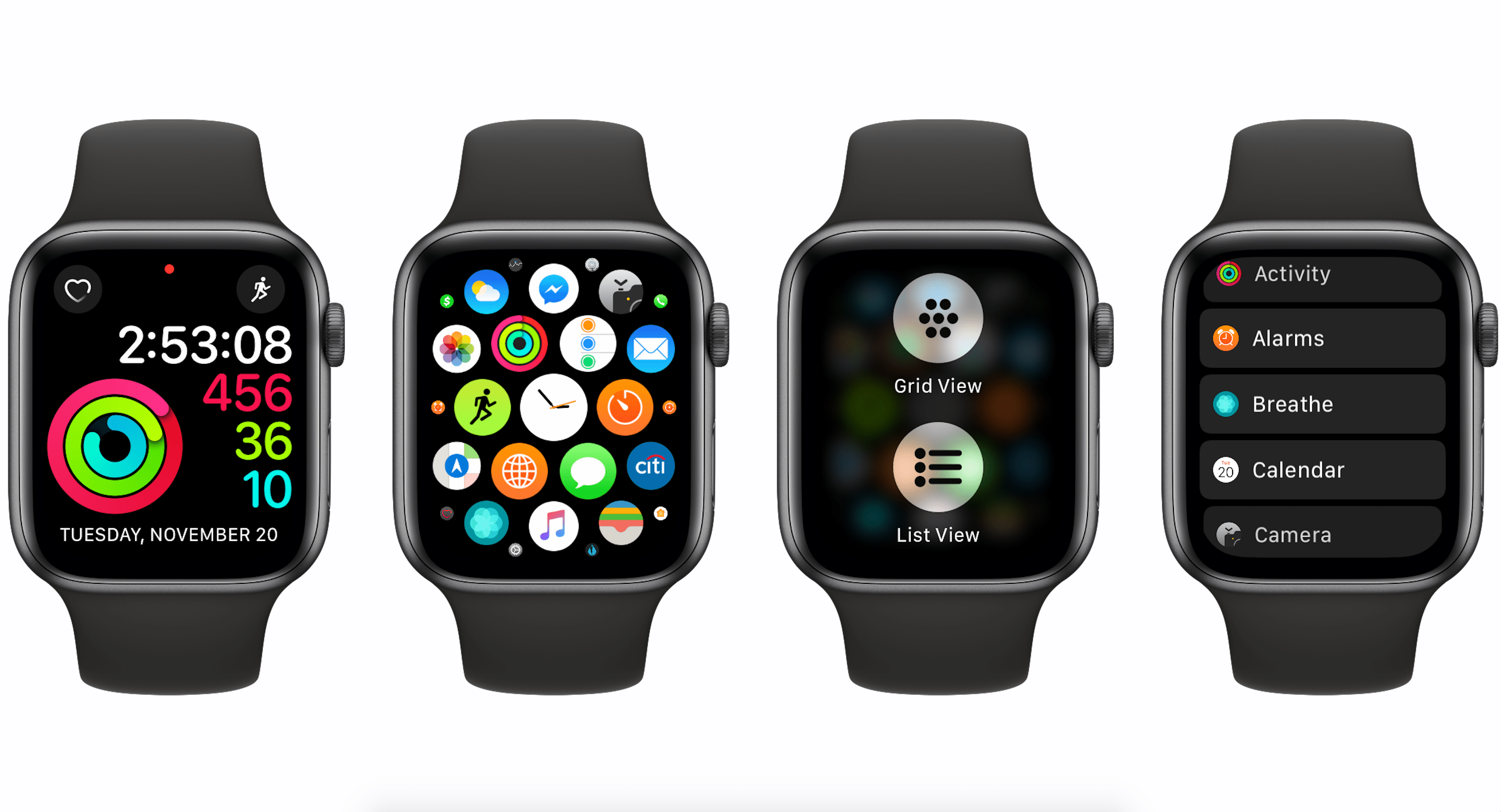 grid view on apple watch with watchos