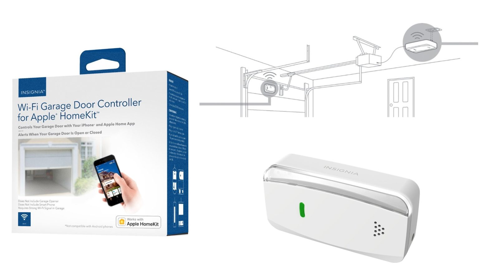 insignia introduces new homekit enabled smart garage door controller currently priced at 45 [ 1600 x 900 Pixel ]