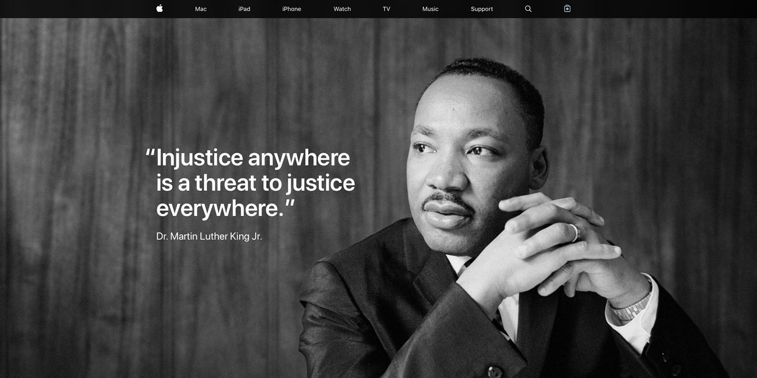 Martin Luther King Jr Day Celebrated On Apple S Homepage