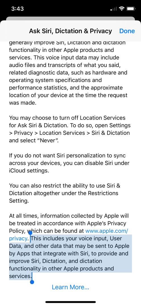 Siri privacy policy 1