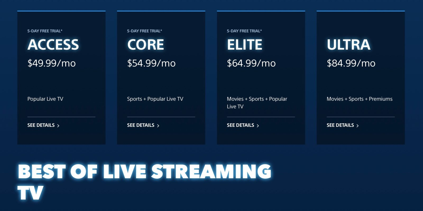 Playstation Vue Ups All Live Tv Streaming Plans By 5