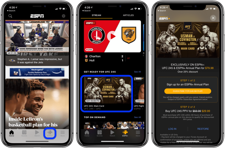 How to watch UFC 245 on iPhone, iPad, Mac, Apple TV walkthrough