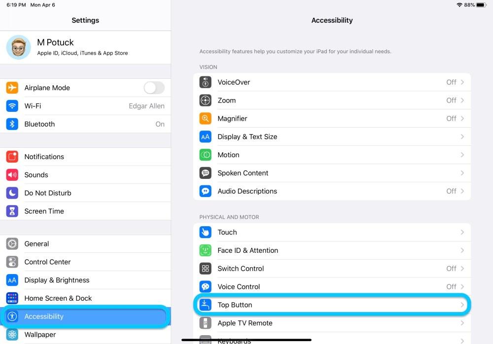 Как настроить верхнюю кнопку iPad Pro прохождение 1