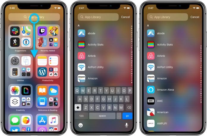 How to use iPhone App Library iOS 14 walkthrough 2 using alphabetical list by swiping down from the top of your screen