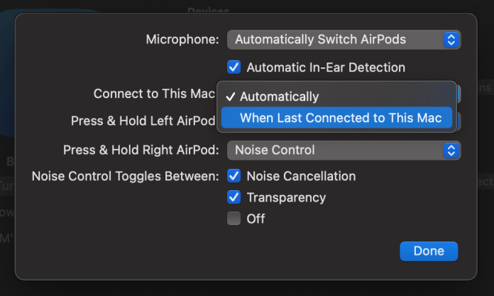 Turn off automatic AirPods switching on Mac walkthrough 2