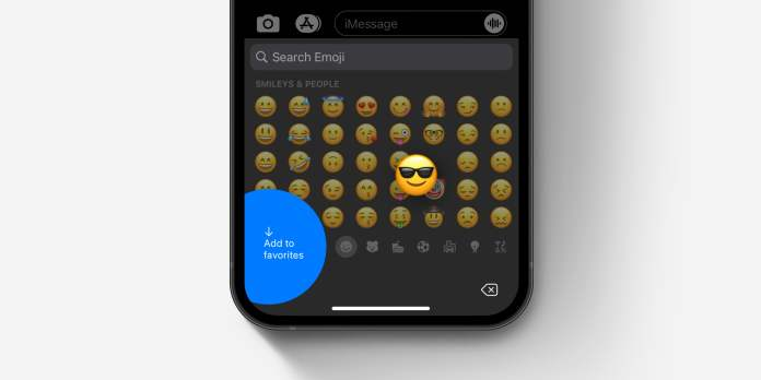 "iOS emoji keyboard how to ""add to favorites"" concept"