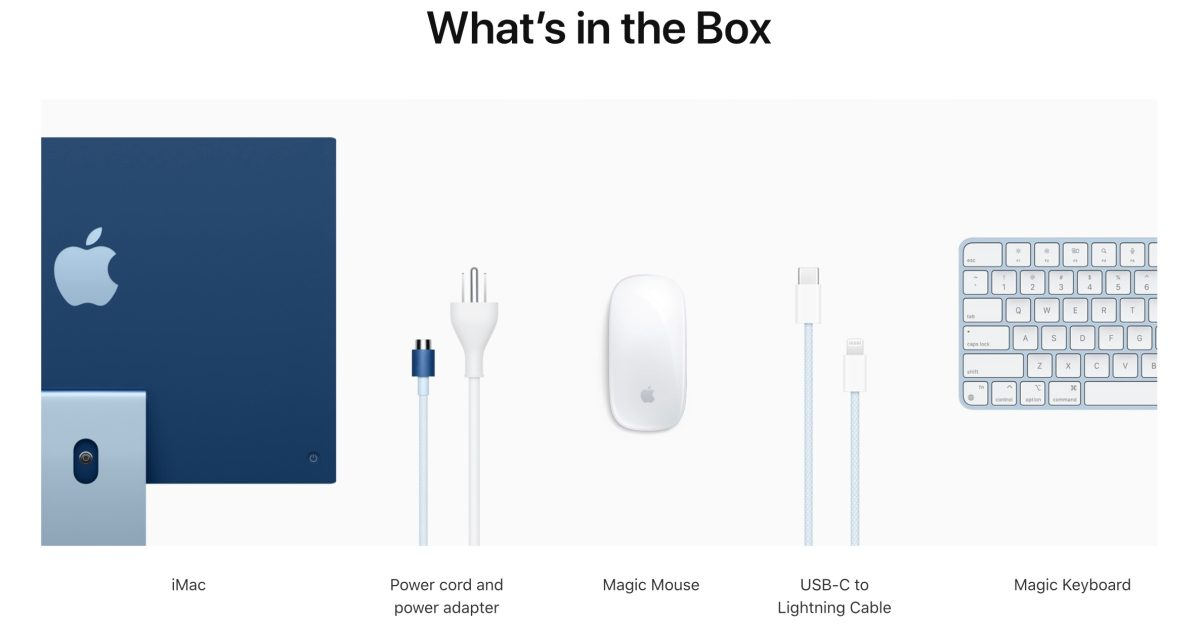 photo of New M1 iMacs come with color-matched braided USB-C to Lightning cable image