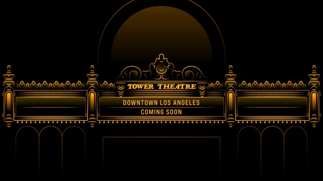"""Apple Tower Theatre Marquee with text """"Downtown Los Angeles Coming Soon"""""""