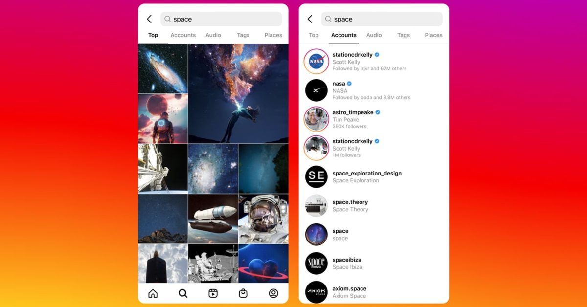Instagram working on new search with photo and video suggestions that looks like TikTok thumbnail