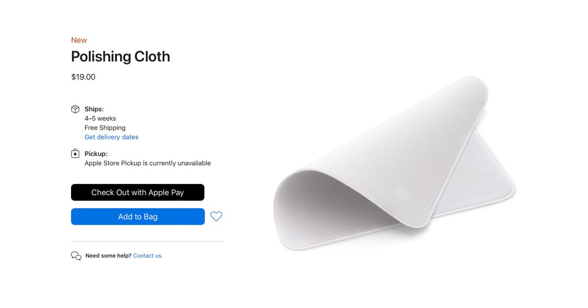 Looking for Apple's new Polishing Cloth? Estimated shipping time slips to late-November thumbnail