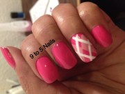 pink plaid argyle nail art 9
