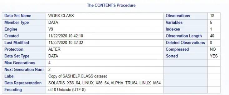 Proc Contents