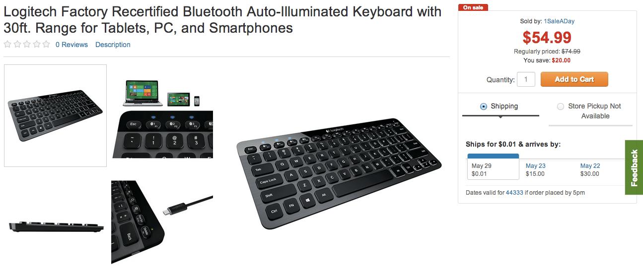 Logitech Bluetooth Auto-Illuminated Keyboard Refurb. $55