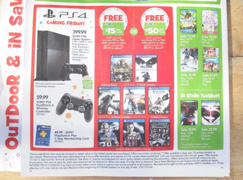 Toys R Us-next gen-PS4-launch week-sale ad-leaked-flyer