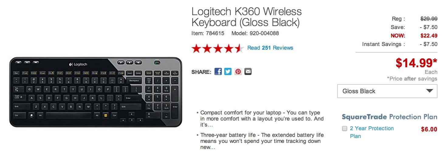 Logitech K360 Wireless Keyboard w/3 year battery for $15