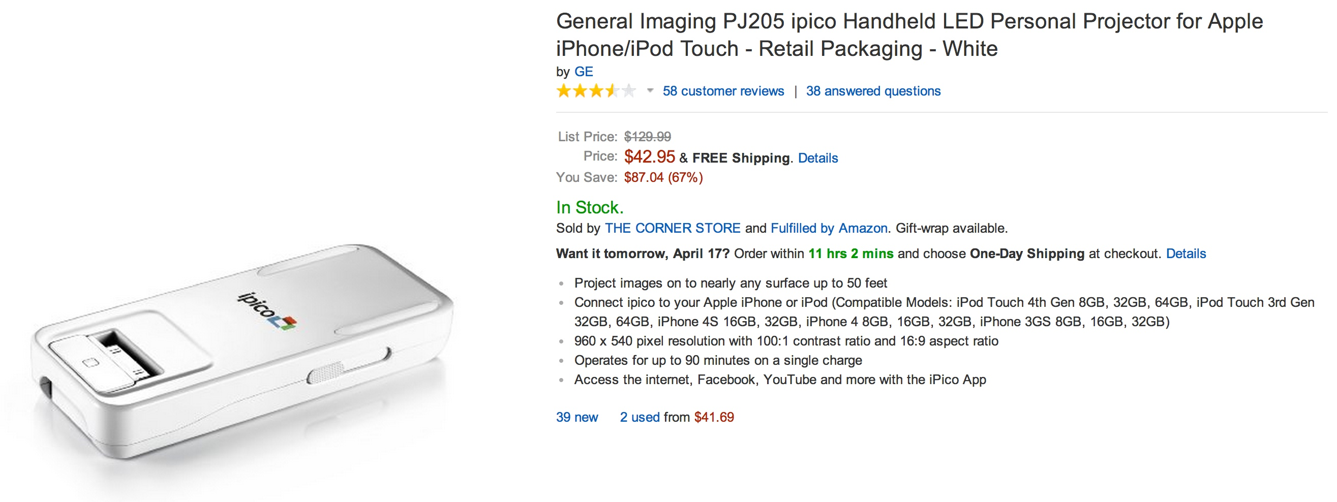 General Imaging ipico Handheld LED Personal Projector for Apple iPhone/iPod Touch $43 shipped (Reg. $130) - 9to5Toys