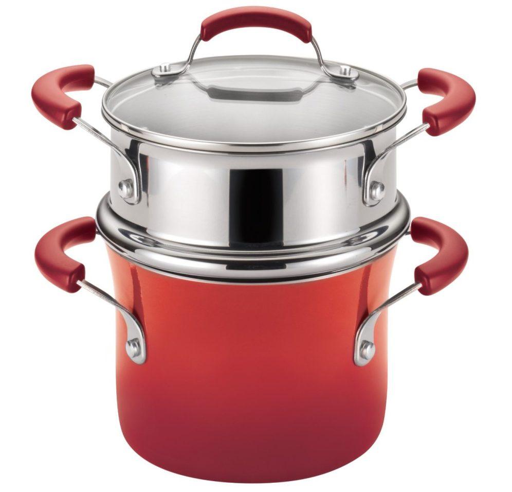 Rachael Ray 3-Quart Porcelain Enamel II Nonstick Covered Steamer Set in Red Gradient-sale-01