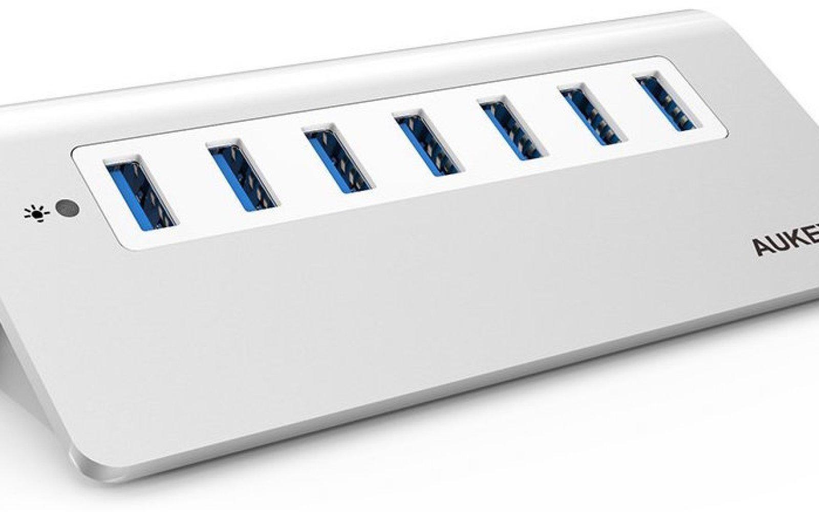 Aukey Aluminum 7x USB 3 portable 30W powered hub: $30 Prime shipped