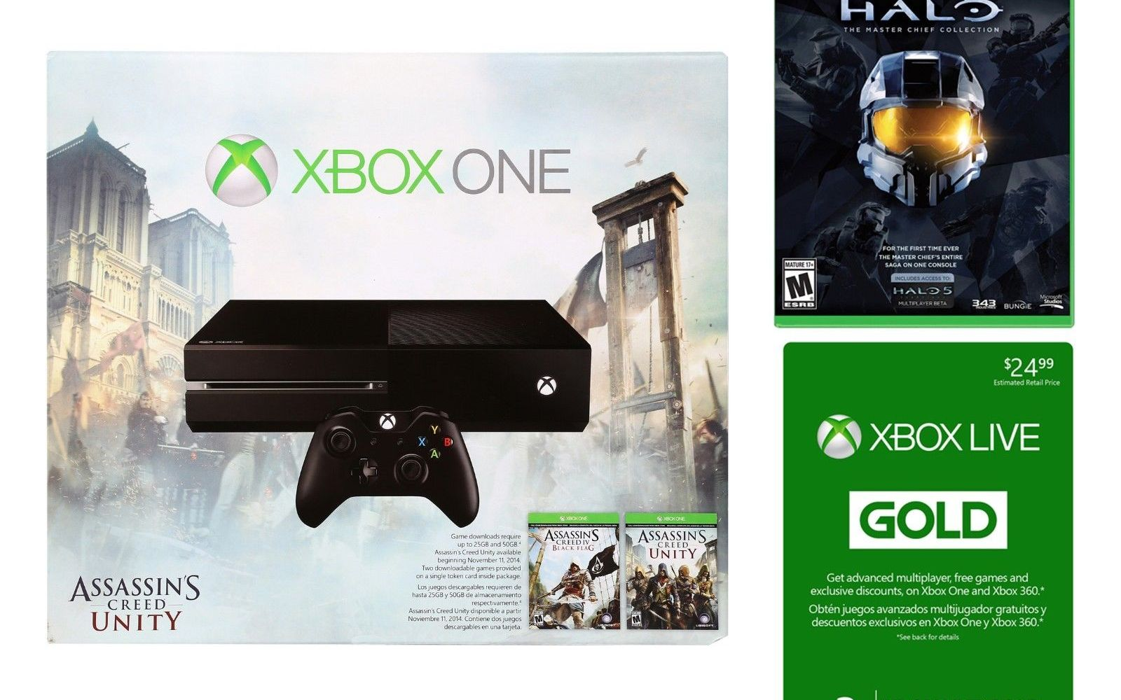 Xbox One AC Unity bundle w/ Halo MCC & 3-months Live $350, PS4 w/ Last of Us & 2 games $399 ($70+ in savings)