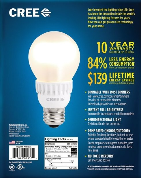 Cree 60W Equivalent Soft White (2700K) A19 LED Light Bulb-sale-02