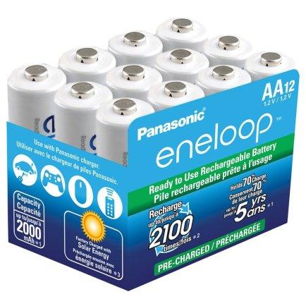 Panasonic BK-3MCCA12SA eneloop AA New 2100 Cycle Ni-MH Pre-Charged Rechargeable Batteries, 12 Pack