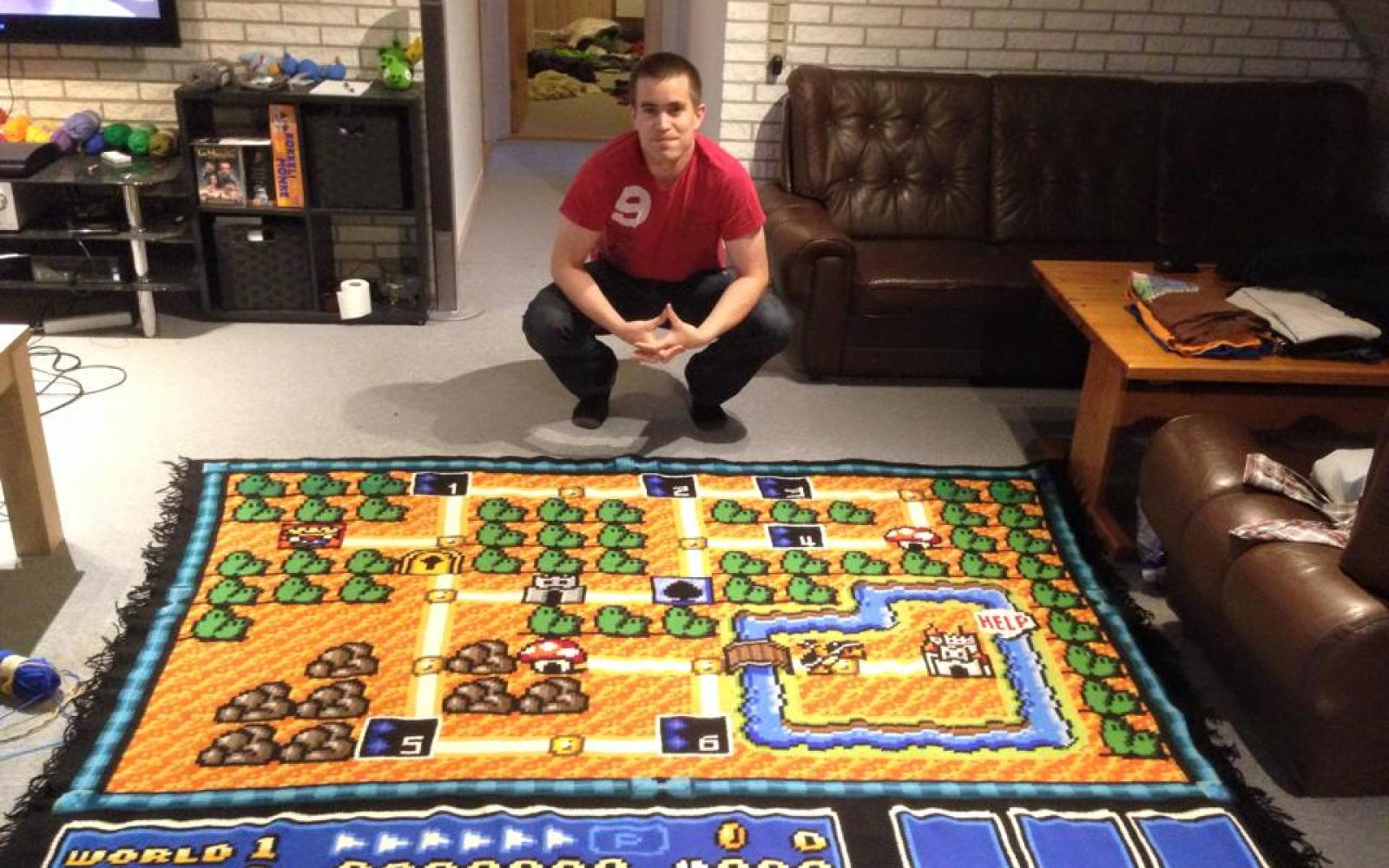 It took more than half-a-decade to knit this highly detailed replica Super Mario Bros. map