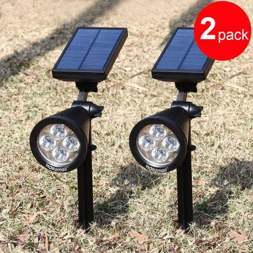 200 Lumens Solar Wall Lights : In-ground Lights, 180°angle Adjustable and Waterproof 4 LED Solar Outdoor Lighting