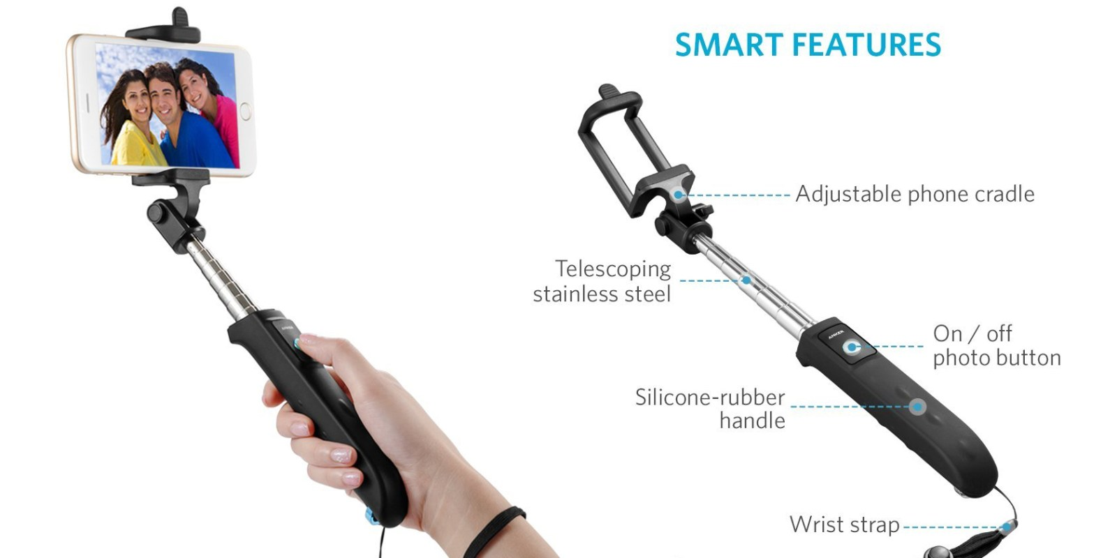 Stocking Stuffer Alert – Anker 31-inch Bluetooth Selfie Stick: $6 Prime shipped (Reg. $17)